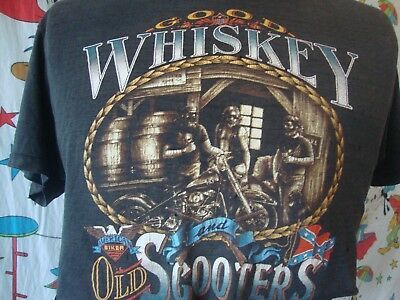 Vintage 80's 3D Emblem Biker 1987 Sturgis Whiskey Scooters Thin harley T Shirt M