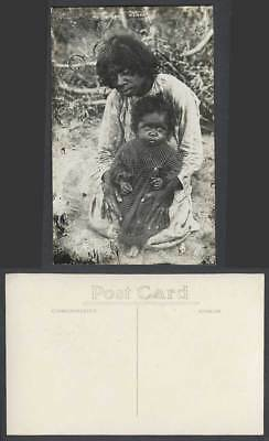 Singapore Old Real Photo Postcard The Bingai Woman & Native Little Girl Children
