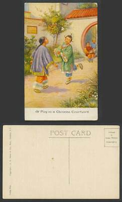 China Old Postcard Girls at Play in Chinese Courtyard JIANZI Shuttlecock Game 毽子