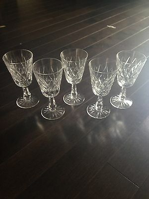 """5 Signed Waterford Kinsale Cut Crystal Wine Glasses 6"""""""