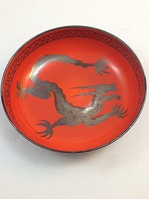 Rate Loetz Glass Bowl Black & Orange With Silver Inlay Dragon And Paint