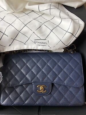 b121f2eec7ec Chanel Jumbo classic Double Flap Bag/Shoulder Caviar Navy Blue GHW Quilted