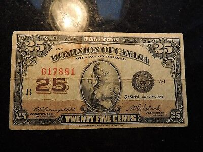 1923 DOMINION OF CANADA .25 CENTS SHINPLASTER PAPER 617881 CAMPBELL CLARK DC-24d