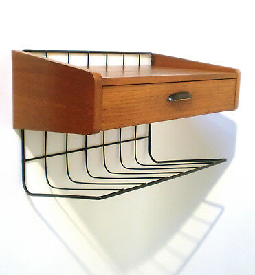 50s Flurmöbel Konsole Regal Teak wire shelf l'étagère teck annees 50 String era