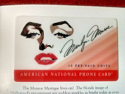 Marilyn Monroe The Marilyn Mystique Phone Card 10 units Excellent  Orig Folder
