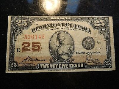 1923 Dominion Of Canada .25 Cents Shinplaster Paper 526145 Mccavour Saunders