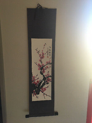 Hand Painted Hanging Scroll Calligraphy Cherry Blossom Silk Asian Art Chinese