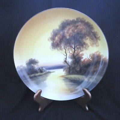 Vintage Noritake Morimura Hanging Collector Plate - Cottage by the Lake - 10 in.
