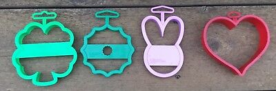 Lot Of 4 Wilton Cookie Cutters Wreath, Bunny, Heart, 4 Leaf Clover Plastic