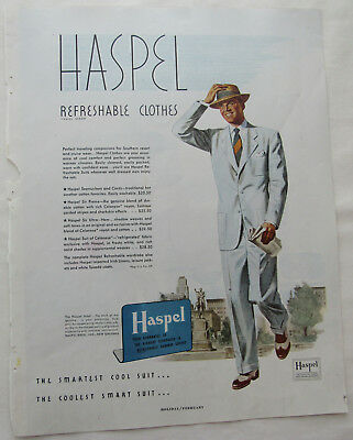 1949 Haspel Refreshable Cloths Summer Searsuckers Suits New Orleans Print Ad