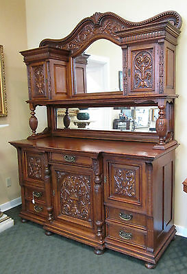 Antique Quarter Sawn Hand Carved Golden Oak 5 Drawer Mirrored Sideboard c1900