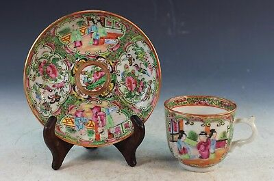 Antique Chinese Rose Medallion Porcelain Plate & Cup
