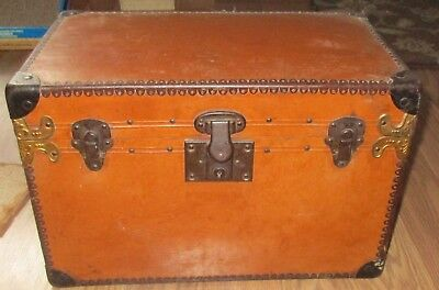 Small Antique Vintage Leather Trunk Doll Trunk Maybe Take a Look!!!