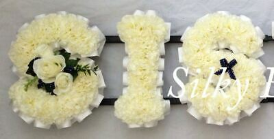 Artificial Silk Funeral Flower Sis Wreath Any 3 Letter Tribute Memorial Sister