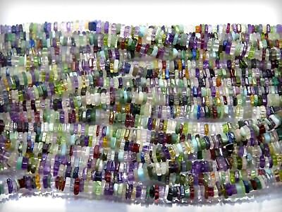 100%Natural Multi gemstones  Smooth Heishi Beads  4mm Approx 16'' inch