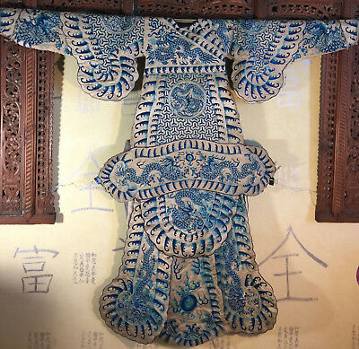 DRAGON*5 CLAW*Royal Opera Robe*China1800s*Qing Dyn*Embroidery Silver Couching