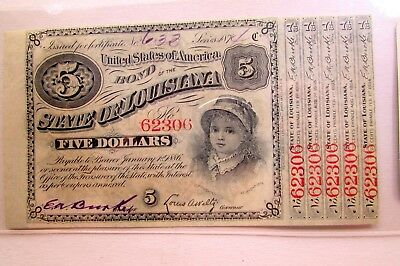 One State Of Louisiana Five Dollar Confederate Bond With Coupons Uncirculated