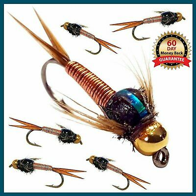 🐠, Trout Flies, UK, COPPER JOHN Barbed, Barbless Hook x 9 FLIES, fly fishing 🐠
