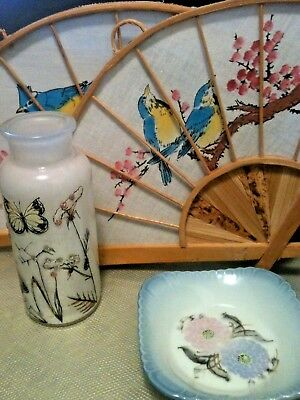 Vintage Floral/Birds Hand Painted Bamboo Wall Hanging Fans (Pair)
