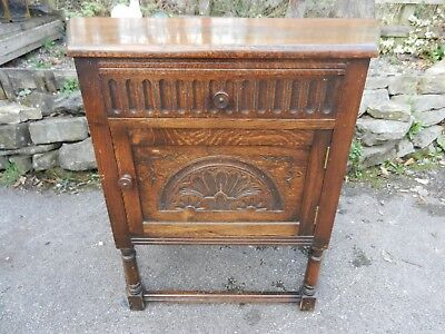 Old/vintage Carved Oak Cupboard - Good Condition