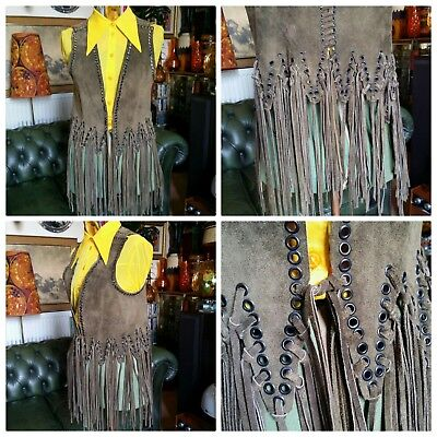 Superb Vintage 60s 70s Fringed Leather Suede Boho Hippy Festival Waistcoat.Small