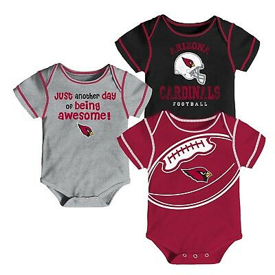 Arizona Cardinals Baby Boys' Awesome Football Fan 3pk Bodysuit Set - 12 M - New