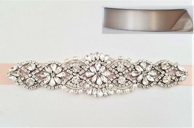 "CRYSTAL Pearl Wedding Bridal Dress Sash Belt = 7 1/4"" long = TAUPE"