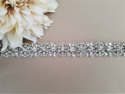 Wedding Belt, Bridal Sash Belt - SILVER Crystal Wedding Sash Belt