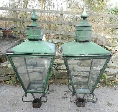 Early Victorian Large Pair Of Gas Lamp Tops / Lanterns - Rare - Good Order