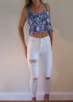 Worn Once Topshop JAMIE White Super Ripped Skinny Ankle Jeans W26 L30 UK 6 8
