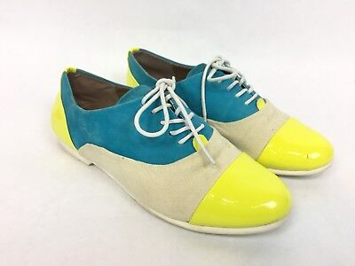 b2396e45597 Steve Madden Taxxi Blue Yellow Leather Canvas Cap Toe Shoes   Women s 7
