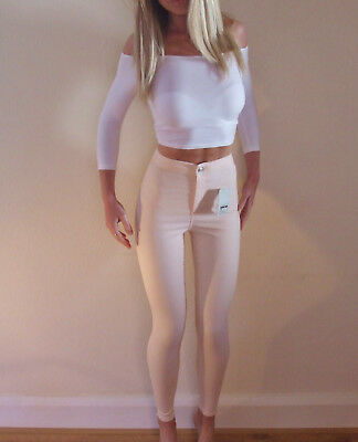 New with Tags Topshop JONI Rare Peach High Rise Skinny Summer Jeans W28  UK 10