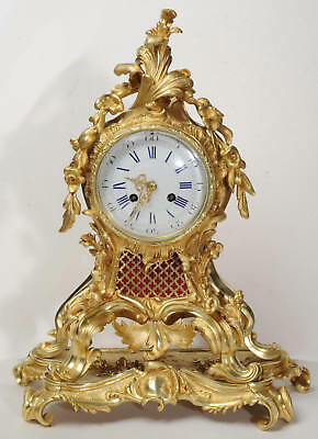 FINE and LARGE ROCOCO ORMOLU CLOCK BY VINCENTI ANTIQUE FRENCH C1860 .