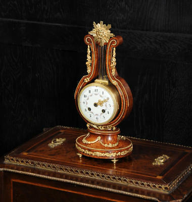 Stunning Walnut & Ormolu Lyre Desk Clock Very Pretty Antique French C1900