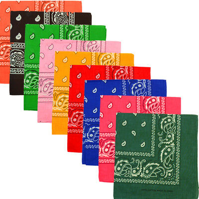 Lot Of 12/1 Dozen Paisley Print Scarf Bandana 100% Cotton Multi Colors 22 x 22