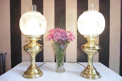 Pair Of Large Vintage Solid Brass Table Lamps