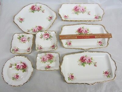 Lot of 11  Royal Albert American Beauty  Candy Dishes, Sandwich Trays,Cake Dish