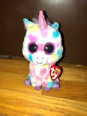 Ty Beanie Baby Boos w  tag Big Eyes Glitter Cute Sparkles Wishful Unicorn 6