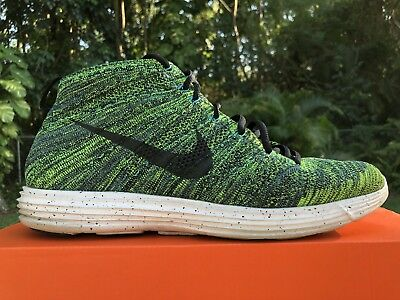 brand new cab1a 4ebab Nike Lunar Flyknit Chukka NIGHT FACTOR BLACK GREEN Size 12 (554969-300)