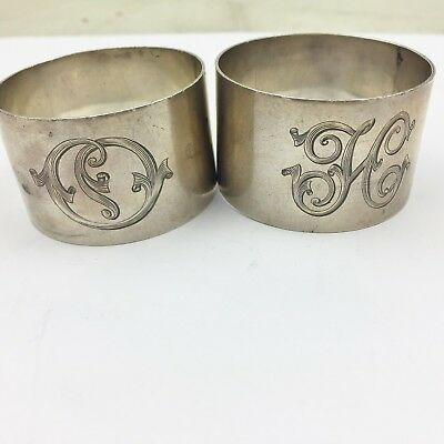 Antique Solid Silver Pair Of Chunky Heavy Round Napkin Ring Serviette Rings