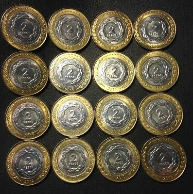 Old Argentina Coin Lot - 16 High Grade 2 Peso Bi-Metal Coins - Lot #A21