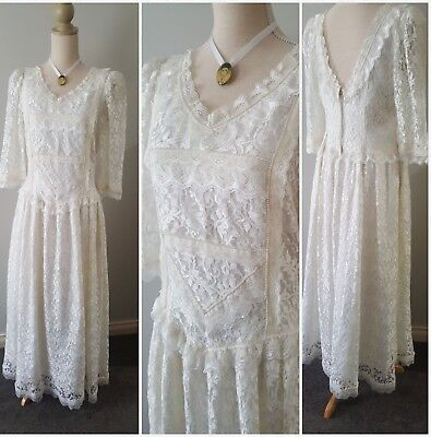 Wedding dress Vintage lace and pearl size 14
