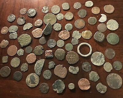 Mixed Lot Of 70+ Ancient Coins/ Pieces Roman, Byzantine, Spanish, Etc Low Grade