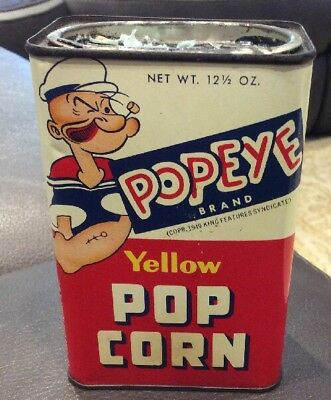 popeye collectibles 6 inch tall steel popcorn can made in the usa
