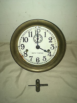 Antique Brass Maritime Ships Bell Porthole Clock - Double Key Wind With Key