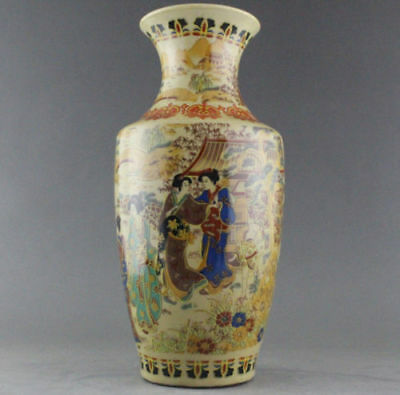 Chinese-collectable-old-porcelain-handwork-painting-maid-pattern-noble-vas