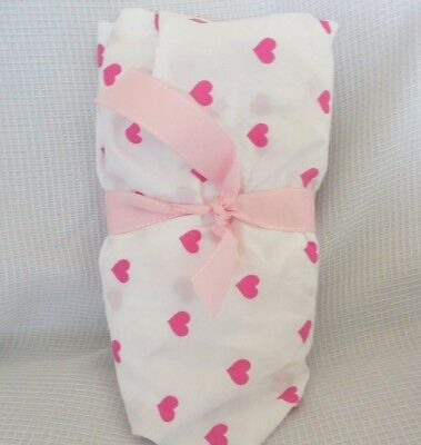 Pottery Barn Baby Organic Hot Pink Heart Crib Toddler Bed Fitted Sheet NWOT