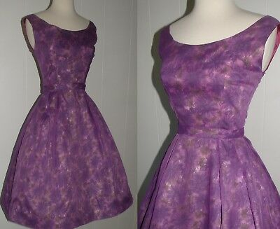 """Vintage 1950's Chiffon Over Floral Party Dress, Small, Bust 32"""", Metal Zipper"""