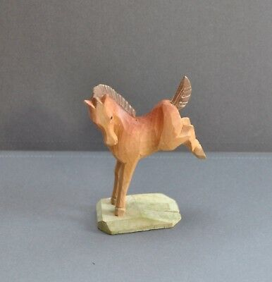 Carved Wood Horse Kicking Foal