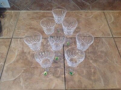 "8 MINT WATERFORD CUT CRYSTAL WINE GOBLETS LISMORE 5 5/8"" Original Stickers"